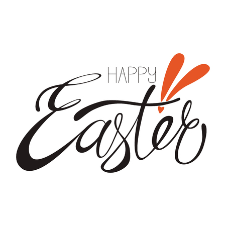 Happy Easter hand-drawn lettering. Template for postcard, card, invitation, poster, banner. Happy easter calligraphy isolated on white background.