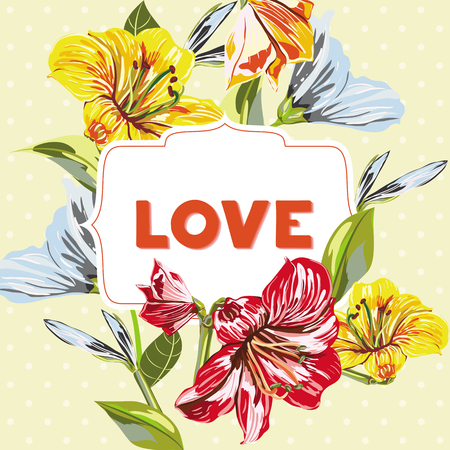 Vector Flower Pattern wish Inscription Love. Flower background with of pinck, yellow, blue flower. Illustration Can be use asfor greeting cards, invitations, poster and banner.