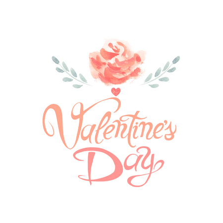 Valentines Day vector greeting card. Hand made calligraphy and heart. Love and flowers painting abstract design.