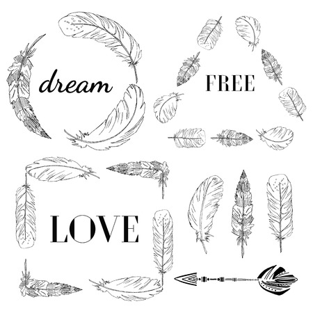 Vector Set of Boho Style Frames and hand drawn elements. With feathers fashion frames with a motivational quote. Love, Dream, Free.