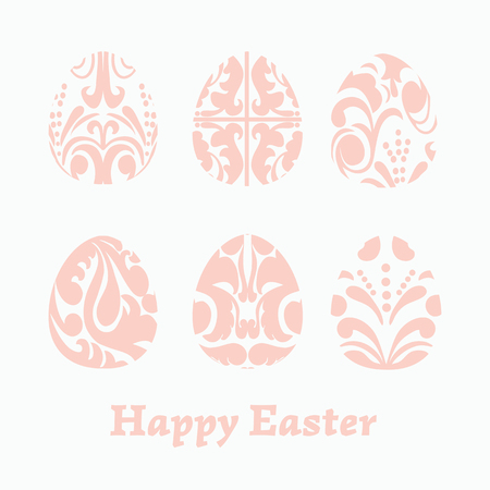 Vector Set Easter hand drawn paper cut easter eggs  for your design on a isolated background. Happy Easter. Vector illustration.