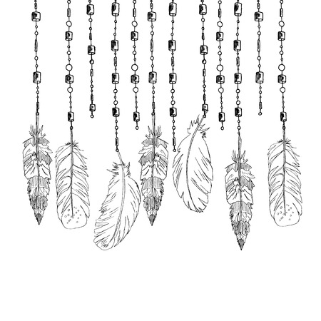 Hand drawn arrow and feathers, ethnic elements. Tribal theme. Vector Hand Drawn traditional abstract Illustration.