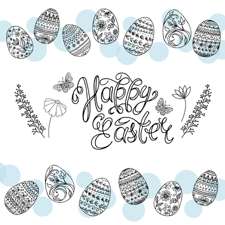 Happy Easter. Set of vector doodle Easter Egg, Calligraphic inscription and Butterflies. Vector Handmade art. Can be use as poster, banner, congratulation cards and etc. for your design.