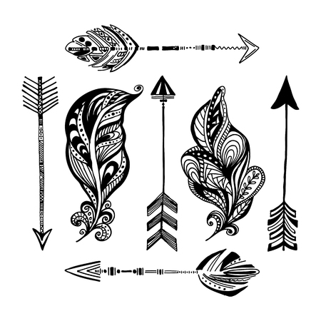 A set of hand-drawn arrows and feathers. Vector traditional abstract decorative ornament. Boho style illustration.