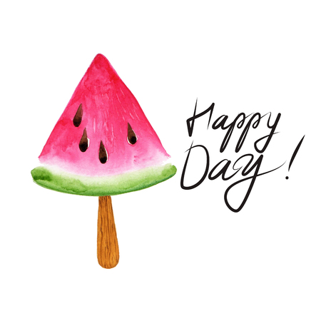 Fruit Ice Cream icons. Watermelon. Typography poster with hand phrase: Happy Day! Typography poster with hand lettering. Watercolor illustration print quote.