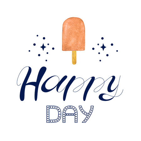 Eskimo Ice Cream icons. Typography poster with hand phrase: Happy Day. Typography poster with hand lettering. Watercolor illustration print quote.