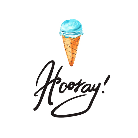 Eskimo Ice Cream icons. Typography poster with hand phrase: Hooray! Typography poster with hand lettering. Watercolor illustration print quote. Фото со стока
