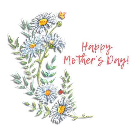 Happy Mothers Day. Watercolor floral frames illustration with watercolor flowers and leaves. Botanical borders.
