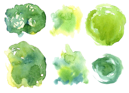 Collection Colorful Watercolor Spots. Set Creative Abstract Aquarelle art hand paint on isolated white Background. Color Drops, blots and Spray for your design. Illustration