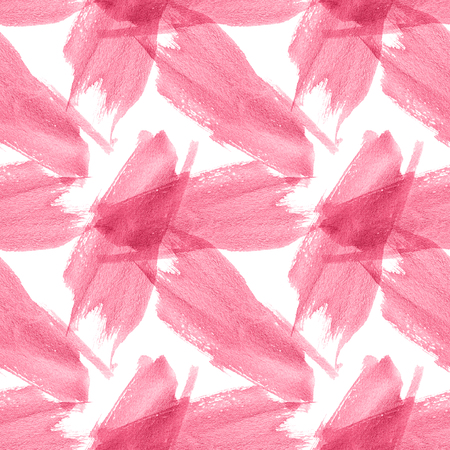 Watercolor Spots seamless pattern. Creative Abstract Aquarelle art hand paint on white Background. Pink Color Drops, blots and Spray for your design.