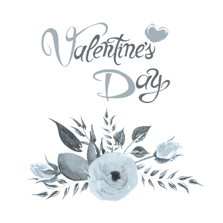 Love Day greeting card. Hand made calligraphy and heart. Love and flowers painting abstract design. Watercolor illustration.