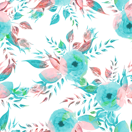 Watercolor Floral seamless pattern. Vintage turquoise roses. Vintage Background for your design.
