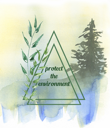 Watercolor Illustration of environmentally friendly planet. Protect the environment. World environment and sustainable development concept. Ecology Concept.