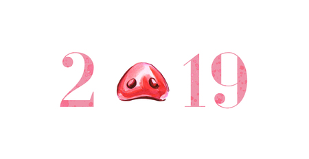 Cute funny pigs nose, 2019 from spot and spray. Happy New Year card design element. Chinese symbol of the 2019 year. Watercolor illustration