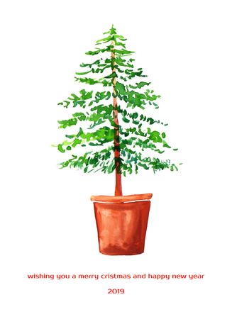 Christmas tree. Merry Cristmas New year 2019 card. Watercolor illustration.