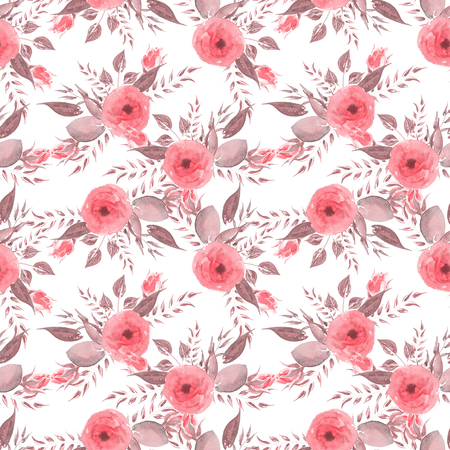 Watercolor seamless pattern. Vintage Rad roses.Flowers and leaves. Summer and spring watercolor illustration. Botanical texture. Fresh and bright design. Can be used for a poster, printing on fabric. Nature.