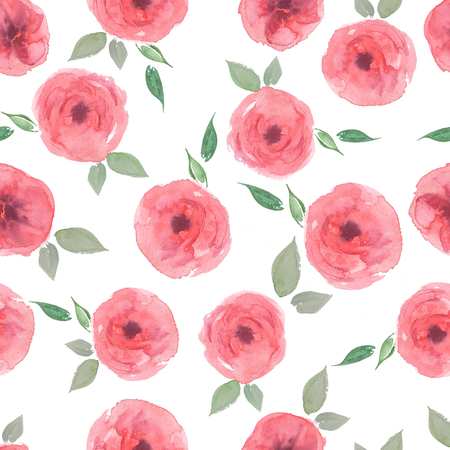 Watercolor seamless pattern. Pink roses with green leaves on the white background. Romantic garden flowers illustration. Vintage colors.