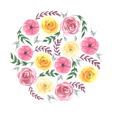 Frames circle flower watercolor yellow and red Roses. Herbs and branches, Leaves and flowers, Plants and floral. Botanical garden bloom.