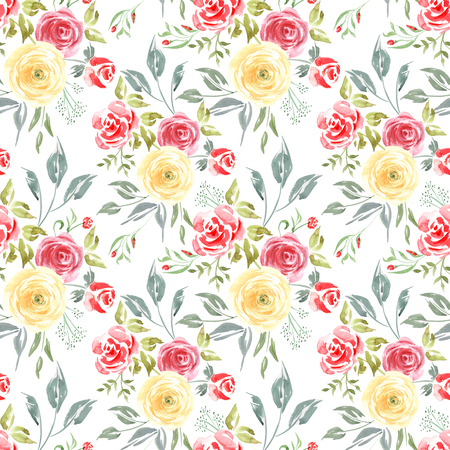 Watercolor Floral seamless pattern of Roses. Colorful Aquarelle art hand paint botanical Red and Yellow flower on a white background for your design wrapping, wrapper, fashion fabric cloth and etc.