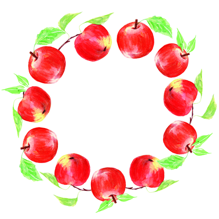 Wreaths watercolor apples. Sweet fruit.