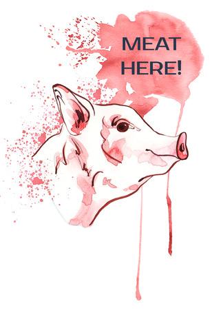 Pig on aquarele spots. Poster farm animals watercolor.