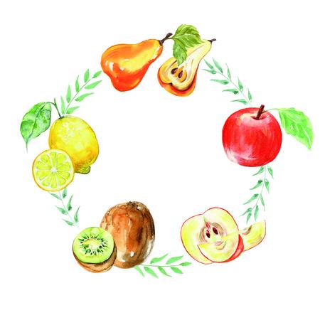 Wreaths watercolor apples, kiwi, lemon, pear. Sweet fruit. Stockfoto