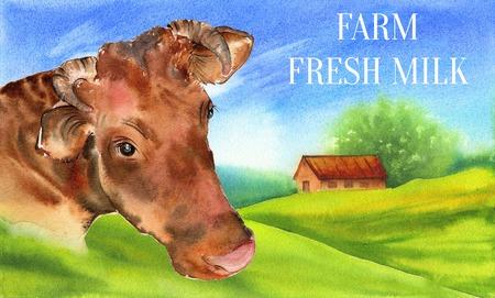 Cow. Poster farm animals watercolor.