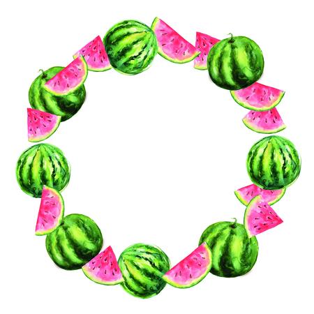 Wreaths watercolor watermelon. Sweet fruit.
