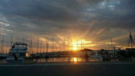 Sunset over the Marina in Yasmine Hammamet, Tunisia Stock fotó