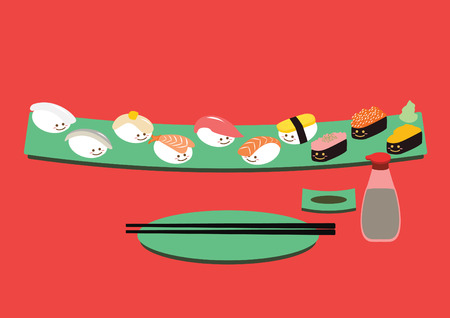 Cute Sushi cartoon in long dish