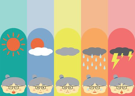 moods: Cute Flat Old Woman Cartoon Design with differrent moods