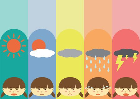 moods: Cute Flat Girl Cartoon Design with differrent moods