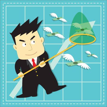 investor: Cute Stock Market Investor Flat Cartoon Design Illustration