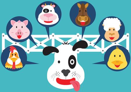 Cute Animal in Farm Flat Cartoon Design