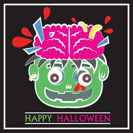 Cute Zombie Head Pop Art Flat Cartoon Design 向量圖像