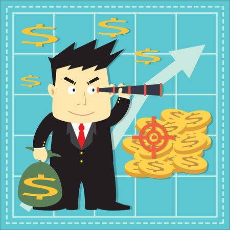 investor: Cute Stock Market Investor Flat Cartoon Design Illustration