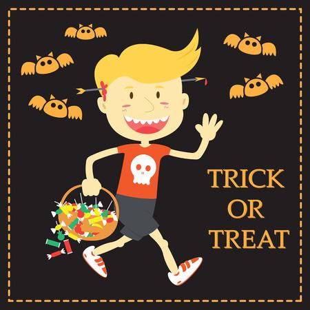 Trick Or Treat Cartoon Illustration Of Halloween Theme Stock Vector 46793527