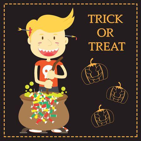 tratar: Trick or Treat Cartoon Illustration of Halloween Theme