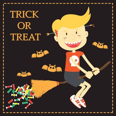 treat: Trick or Treat Cartoon Illustration of Halloween Theme