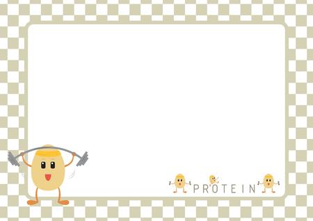 huevo caricatura: Entrenamiento de la historieta huevos en el marco gris de la foto
