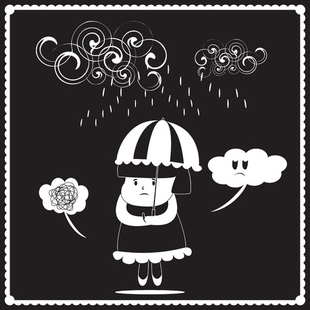 bad mood: Little girl get in bad mood causes the rain