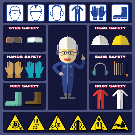 health risks: Safety Boy With Basic Safety Equipments and Signs