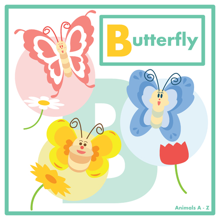 learning english: Butterfly with friends in learning English Animals A to Z