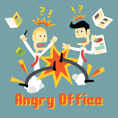 hard day at the office: Stress in Office and people get in angry mood