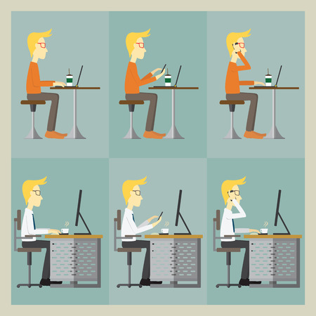 smart man: Man sitting at the table and working with his computer and using smart phone Illustration