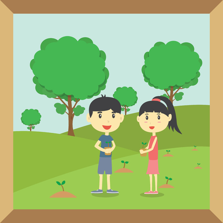 safe world: Boy and Girl planting small trees in garden
