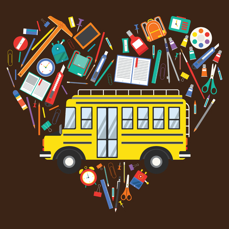 Back to School Yellow School Bus and School Item Icons arrange in heart shape Illustration