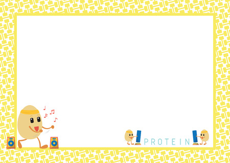 aerobic: Workout Eggs Cartoon Aerobic Dance Design in Yellow Dumbbell Pattern for Picture and Note Frame Illustration
