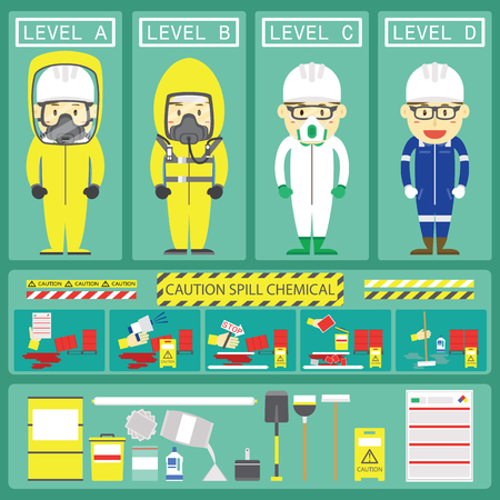 Chemical Spill Response With Level Chemical Suits and Spill Kits for Web or Book Design Vectores