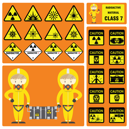 laser hazard sign: Dangerous Goods and Hazardous Materials - Set of Signs and Symbols of Radioactive Material Class with cute safety cartoon character and new symbol design
